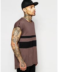 Men's Black Oversized Sleeveless T-shirt With Cut And Sew Panel And Scoop  Neck And Curved Hem