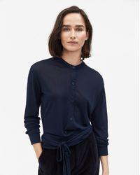 Filippa K - Blue Jersey Tie Blouse Navy - Lyst