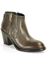 275 Central | Gray Zip-Up Leather Boots | Lyst
