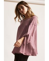 Forever 21 - Purple Oversized Round-neck Sweater - Lyst