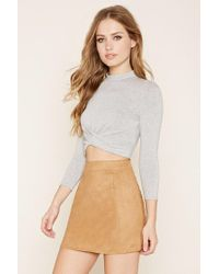 Forever 21 | Gray Mock Neck Twisted Crop Top | Lyst
