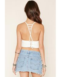 Forever 21 - Natural Ladder Crisscross Cropped Cami - Lyst