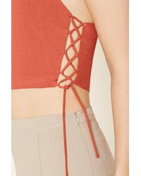 Forever 21 - Multicolor Lace-up Cropped Cami - Lyst