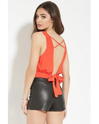 Forever 21 - Red Crisscross Tie-back Top - Lyst