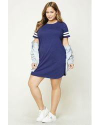 Forever 21 - Blue Plus Size Varsity T-shirt Dress - Lyst