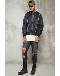 Forever 21 - Black Contrast Zippered Bomber Jacket for Men - Lyst