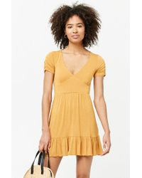 Forever 21 - Yellow Stretch-knit Swing Dress - Lyst