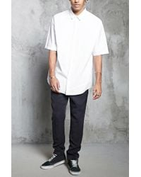 Forever 21 - White 's Slim-fit Woven Shirt for Men - Lyst