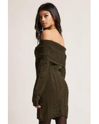 Forever 21 - Green Cable Knit Off-the-shoulder Dress - Lyst