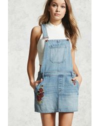 Forever 21 - Blue Floral Embroidery Dungaree Dress - Lyst