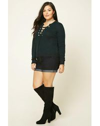 Forever 21 - Green Plus Size Lace-up Sweater - Lyst