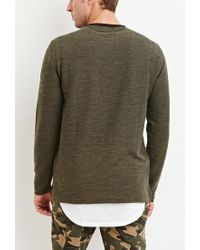 Forever 21 - Green Marled Knit Pocket Tee for Men - Lyst