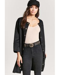 Forever 21 - Black Faux Suede Longline Coat - Lyst