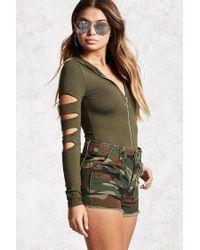 Forever 21 Zip-front Hooded Bodysuit in Green - Lyst f17e3f5d9