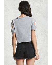 Forever 21 - Gray Split Sleeve Graphic Tee - Lyst