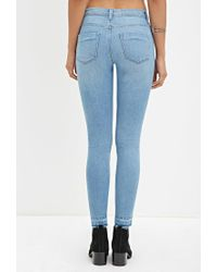 Forever 21 - Blue Low-rise Skinny Jeans - Lyst