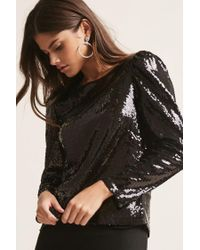 Forever 21 - Black Sequined Puff-sleeve Top - Lyst