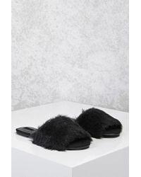 Forever 21 - Black Faux Fur Slide Sandals - Lyst