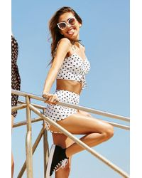 Forever 21 - Black Polka Dot Lace-up Cropped Cami - Lyst
