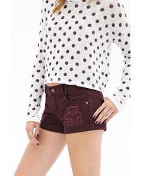 Forever 21 - Purple Cuffed Distressed Denim Shorts - Lyst
