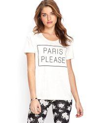 Forever 21 - White Paris Please Tee - Lyst