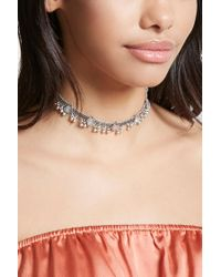 Forever 21 | Metallic Faux Stone Ball Chain Choker | Lyst