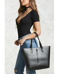 Forever 21 | Black Structured Faux Leather Tote | Lyst