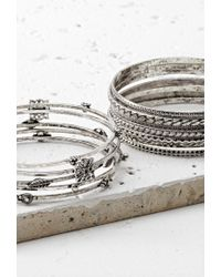 Forever 21 - Metallic Etched Charm-accented Bangle Set - Lyst