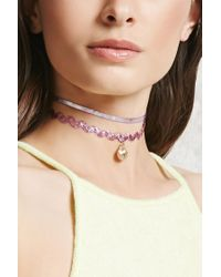 Forever 21 | Pink Holographic Ribbon Choker Set | Lyst