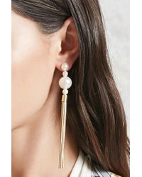 Forever 21 - Metallic Faux Pearl Tassel Drop Earrings - Lyst