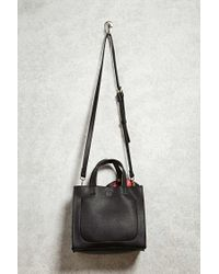 Forever 21 | Black Faux Leather Crossbody Satchel | Lyst