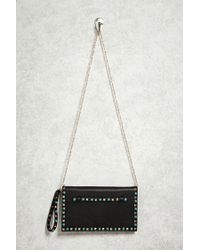 Forever 21 | Black Studded Faux Leather Clutch | Lyst