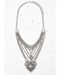 Forever 21 - Metallic Layered Chain Statement Necklace - Lyst