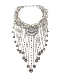 Forever 21 - Metallic Coin Fringe Statement Necklace You've Been Added To The Waitlist - Lyst