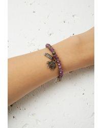 Forever 21 - Multicolor Key And Heart Charm Beaded Bracelet - Lyst