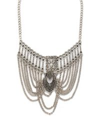 Forever 21 - Metallic Etched Chain Statement Necklace - Lyst