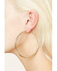 Forever 21 | Metallic Etched Geo Hoop Earrings | Lyst