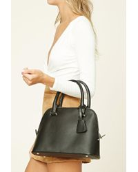 Forever 21 | Black Structured Faux Leather Satchel | Lyst