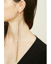 Forever 21 | Metallic Rhinestone Duster Earrings | Lyst