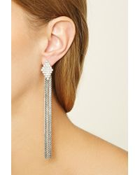 Forever 21 | Metallic Rhinestone Duster Earrings | Lyst
