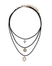 Forever 21 - Black Etched Charm Choker Set - Lyst