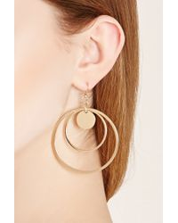 Forever 21 | Metallic Circle Cutout Drop Earrings | Lyst