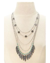 Forever 21 | Blue Layered Feather Necklace | Lyst