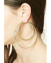 Forever 21   Metallic Double Hoop Earrings   Lyst