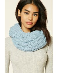 Forever 21 | Blue Ribbed Knit Infinity Scarf | Lyst