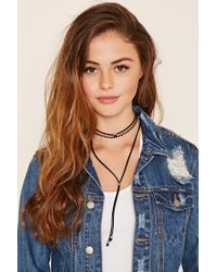 Forever 21 | Black Beaded Layered Choker Set | Lyst