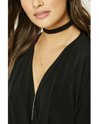 Forever 21 - Metallic Layered Drop Chain Choker - Lyst