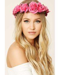Forever 21   Pink Rose Flower Crown Headwrap   Lyst
