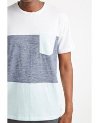 Forever 21 - White 's Colorblocked Pocket Tee Shirt for Men - Lyst