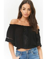 Forever 21 - Black Ladder Cutout Off-the-shoulder Top - Lyst